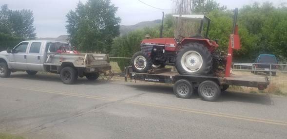 tractor being transported